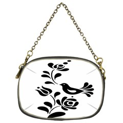 Birds Flower Rose Black Animals Chain Purses (one Side)