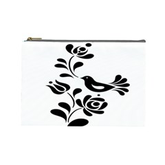Birds Flower Rose Black Animals Cosmetic Bag (large)