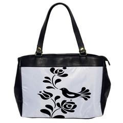 Birds Flower Rose Black Animals Office Handbags