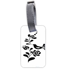 Birds Flower Rose Black Animals Luggage Tags (one Side)