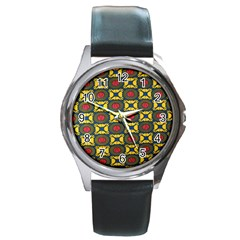 African Textiles Patterns Round Metal Watch