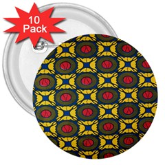 African Textiles Patterns 3  Buttons (10 Pack)