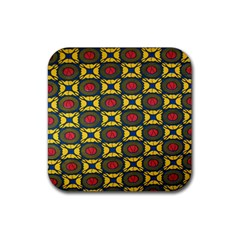 African Textiles Patterns Rubber Square Coaster (4 Pack)