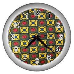African Textiles Patterns Wall Clocks (silver)