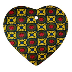 African Textiles Patterns Heart Ornament (two Sides)