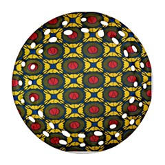 African Textiles Patterns Round Filigree Ornament (two Sides)