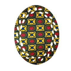 African Textiles Patterns Oval Filigree Ornament (two Sides)