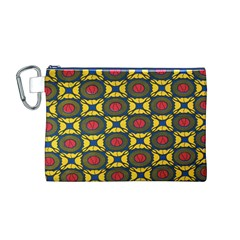 African Textiles Patterns Canvas Cosmetic Bag (m)