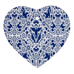 Birds Fish Flowers Floral Star Blue White Sexy Animals Beauty Ornament (heart)