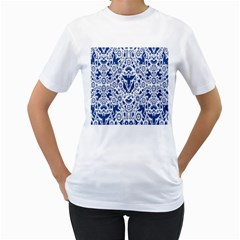 Birds Fish Flowers Floral Star Blue White Sexy Animals Beauty Women s T Shirt (white) (two Sided)
