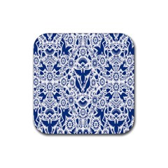 Birds Fish Flowers Floral Star Blue White Sexy Animals Beauty Rubber Coaster (square)