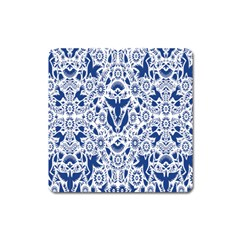 Birds Fish Flowers Floral Star Blue White Sexy Animals Beauty Square Magnet
