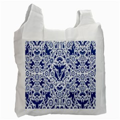 Birds Fish Flowers Floral Star Blue White Sexy Animals Beauty Recycle Bag (two Side)
