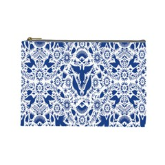 Birds Fish Flowers Floral Star Blue White Sexy Animals Beauty Cosmetic Bag (large)