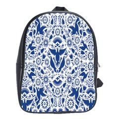 Birds Fish Flowers Floral Star Blue White Sexy Animals Beauty School Bag (large)