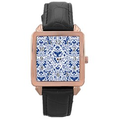 Birds Fish Flowers Floral Star Blue White Sexy Animals Beauty Rose Gold Leather Watch