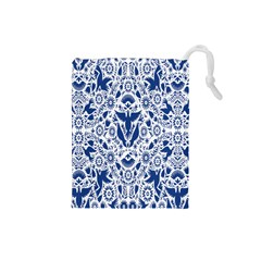 Birds Fish Flowers Floral Star Blue White Sexy Animals Beauty Drawstring Pouches (small)