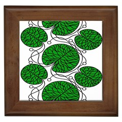 Bottna Fabric Leaf Green Framed Tiles
