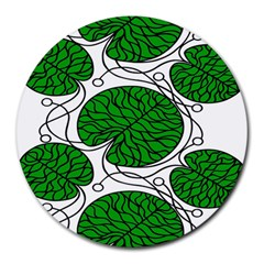Bottna Fabric Leaf Green Round Mousepads