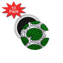 Bottna Fabric Leaf Green 1 75  Magnets (10 Pack)