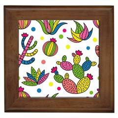 Cactus Seamless Pattern Background Polka Wave Rainbow Framed Tiles