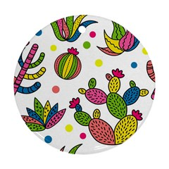Cactus Seamless Pattern Background Polka Wave Rainbow Ornament (round)