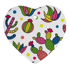 Cactus Seamless Pattern Background Polka Wave Rainbow Ornament (heart)