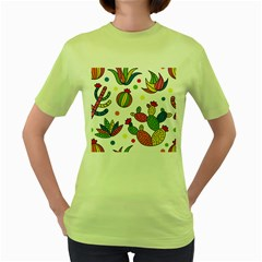 Cactus Seamless Pattern Background Polka Wave Rainbow Women s Green T Shirt