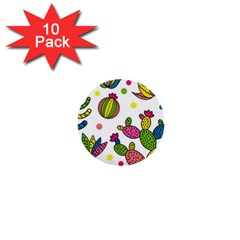 Cactus Seamless Pattern Background Polka Wave Rainbow 1  Mini Buttons (10 Pack)