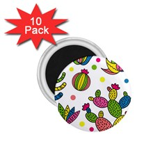 Cactus Seamless Pattern Background Polka Wave Rainbow 1 75  Magnets (10 Pack)