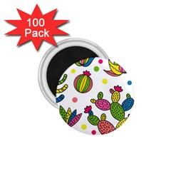 Cactus Seamless Pattern Background Polka Wave Rainbow 1 75  Magnets (100 Pack)