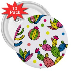 Cactus Seamless Pattern Background Polka Wave Rainbow 3  Buttons (10 Pack)