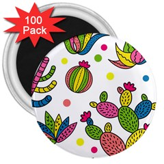 Cactus Seamless Pattern Background Polka Wave Rainbow 3  Magnets (100 Pack)