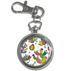 Cactus Seamless Pattern Background Polka Wave Rainbow Key Chain Watches
