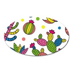 Cactus Seamless Pattern Background Polka Wave Rainbow Oval Magnet