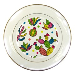 Cactus Seamless Pattern Background Polka Wave Rainbow Porcelain Plates