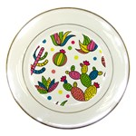 Cactus Seamless Pattern Background Polka Wave Rainbow Porcelain Plates Front