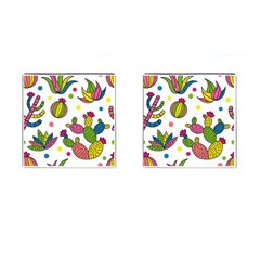 Cactus Seamless Pattern Background Polka Wave Rainbow Cufflinks (square)