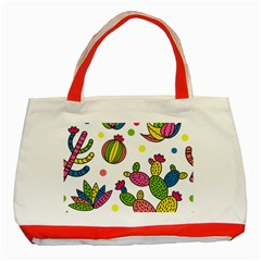 Cactus Seamless Pattern Background Polka Wave Rainbow Classic Tote Bag (red)