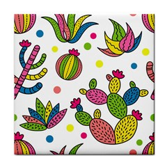 Cactus Seamless Pattern Background Polka Wave Rainbow Face Towel