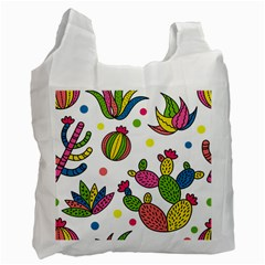 Cactus Seamless Pattern Background Polka Wave Rainbow Recycle Bag (two Side)