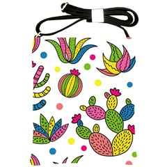 Cactus Seamless Pattern Background Polka Wave Rainbow Shoulder Sling Bags