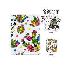 Cactus Seamless Pattern Background Polka Wave Rainbow Playing Cards 54 (mini)