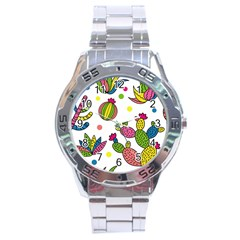 Cactus Seamless Pattern Background Polka Wave Rainbow Stainless Steel Analogue Watch