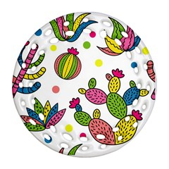 Cactus Seamless Pattern Background Polka Wave Rainbow Round Filigree Ornament (two Sides)