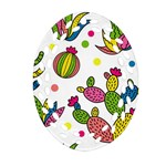Cactus Seamless Pattern Background Polka Wave Rainbow Ornament (Oval Filigree) Front