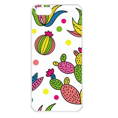 Cactus Seamless Pattern Background Polka Wave Rainbow Apple Iphone 5 Seamless Case (white)