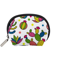 Cactus Seamless Pattern Background Polka Wave Rainbow Accessory Pouches (small)