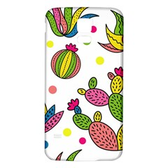 Cactus Seamless Pattern Background Polka Wave Rainbow Samsung Galaxy S5 Back Case (white)