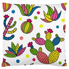 Cactus Seamless Pattern Background Polka Wave Rainbow Standard Flano Cushion Case (two Sides)
